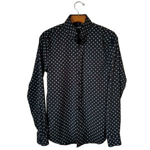 Express Performance Black Graphic Dress Shirt
